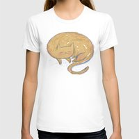 Sleepy Kitty Dreams Womens Fitted Tee White SMALL