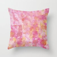 Abstract pink painting Throw Pillow