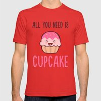 Cupcake is LIFE Mens Fitted Tee Red SMALL