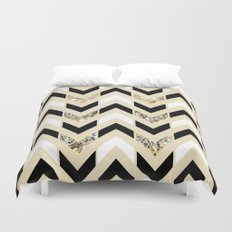 Black, White & Gold Glitter Herringbone Chevron on Nude Cream Duvet Cover