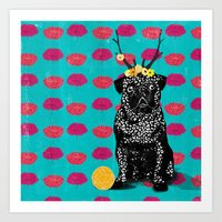 Pug (the bright life) Art Print