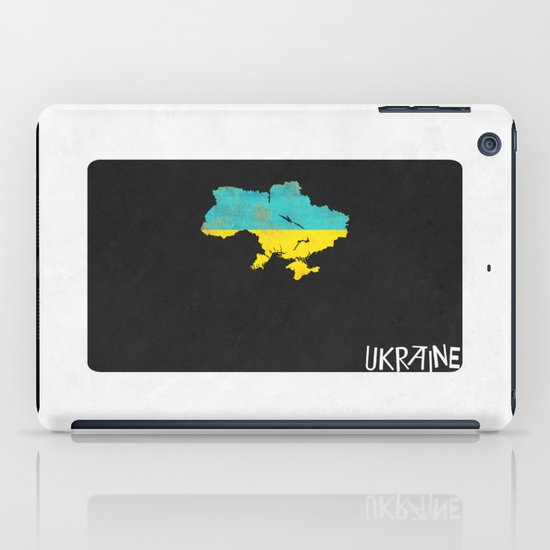 Ukraine Minimalist Vintage Map with Flag iPad Case