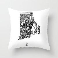 Typographic Rhode Island Throw Pillow