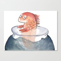 Canvas Print featuring Scared Goldfish by Katie O'Hagan