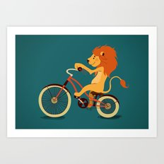 Lion on the bike Art Print