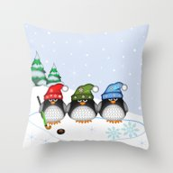 Cute Hockey Penguins In … Throw Pillow
