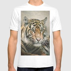 Tiger looking Mens Fitted Tee White SMALL