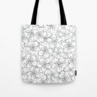 Cherry Blossom Mint Tote Bag