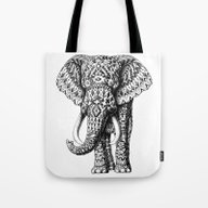 Tote Bag featuring Navajo Elephant by BIOWORKZ