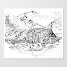 Giant Cat Go On A Picnic Canvas Print