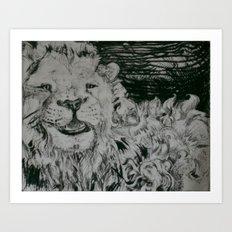 Lion and Man Art Print