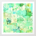 turquoise floral Art Print