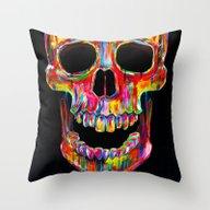 Throw Pillow featuring Chromatic Skull by John Filipe