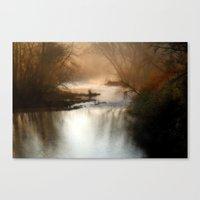Foggy Alum Creek On A Ch… Canvas Print