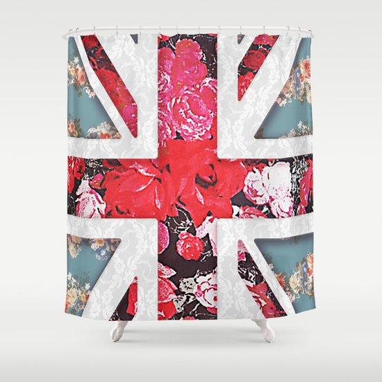 God save the Queen | Elegant girly red floral & lace Union Jack  Shower Curtain