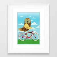 Owl Bicycle Framed Art Print