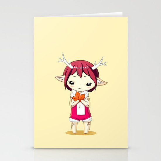 Deer Girl Stationery Card