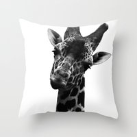 Giraffe Portriat Throw Pillow