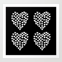 Hearts Heart X2 Black Art Print