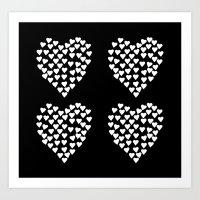 Hearts Heart x2 Black Art Print