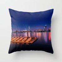 Blue Night. Cambridge MA Throw Pillow
