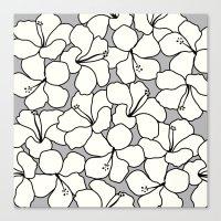 Hibiscus Animal Gray / G… Canvas Print