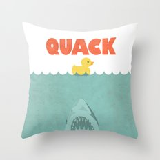 Jaws Rubber Duck Throw Pillow