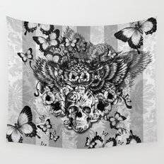Lost and Found, floral owl with sugar skull Wall Tapestry