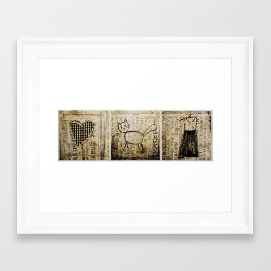 heart,dress,cat Framed Art Print