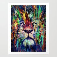 lion Art Prints featuring Lion by nicebleed