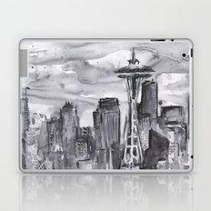 Seattle Skyline Watercolor Space Needle Laptop & iPad Skin