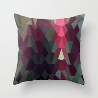 Burgundy Abstract Low Polygon Background Throw Pillow