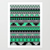 Art Deco Stripes - Green… Art Print