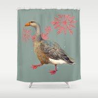 Festive Goose, Nordic, S… Shower Curtain