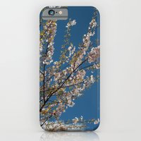 iPhone & iPod Case featuring Joy of life! Spring pink cherry blossom tree against blue sky.  by NatureMatters