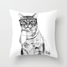 Mac Cat Throw Pillow