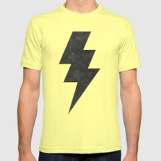 lightning strike Mens Fitted Tee Lemon SMALL