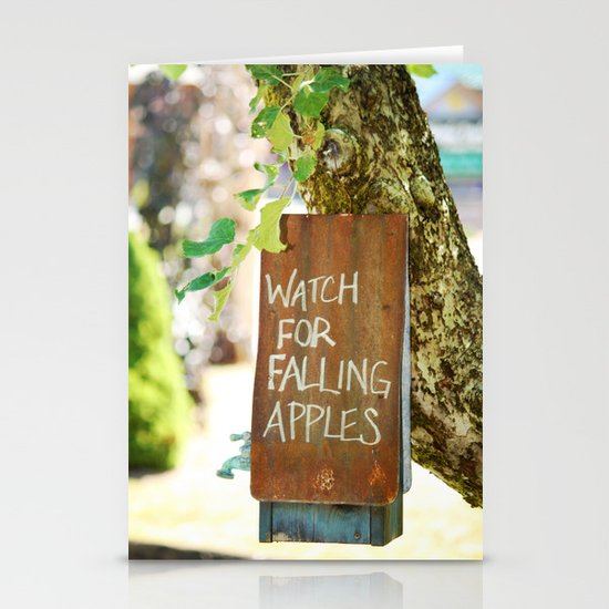 Falling Apples Stationery Card