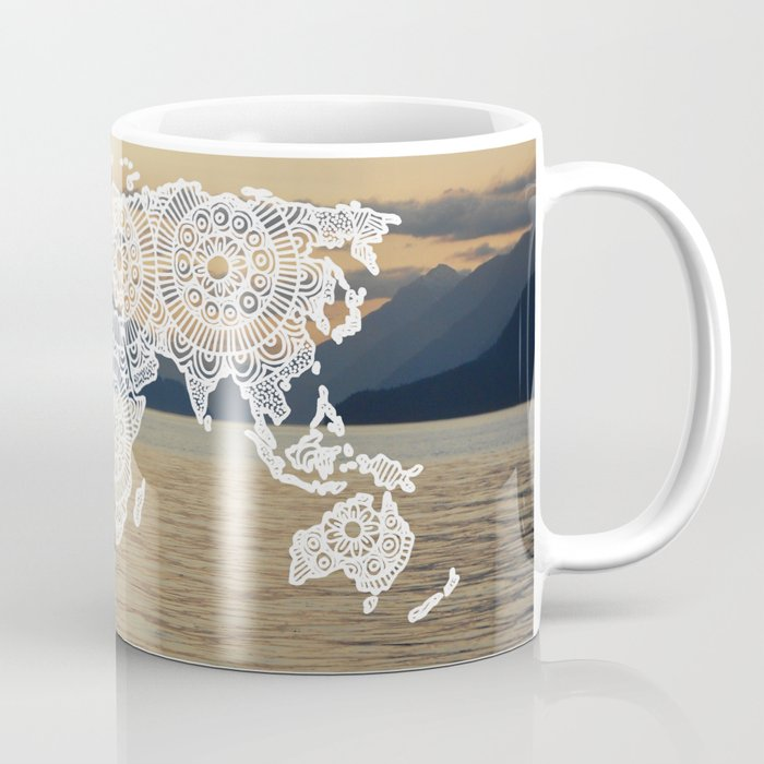 lake view zentangle world map mug gifts