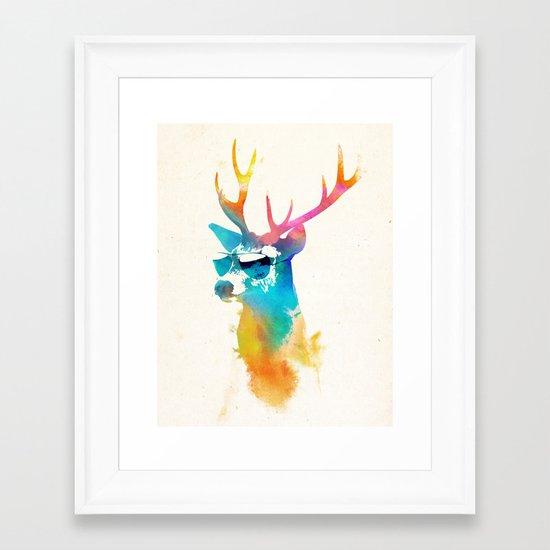 Sunny Stag Framed Art Print