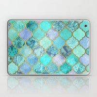 Cool Jade & Icy Mint Decorative Moroccan Tile Pattern Laptop & iPad Skin