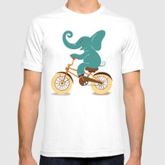 Elephant on the bike Mens Fitted Tee White SMALL