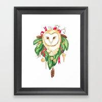 Winter Woodland Magic Ow… Framed Art Print