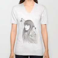 White Feather Unisex V-Neck