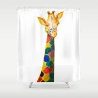 Giraffe Watercolor Print Shower Curtain