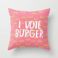 I Vote Burger Throw Pillow