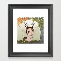 Deery Fairy under Autumn Leaves Framed Art Print