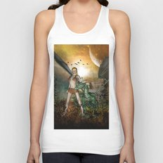 Dragon with fairy Unisex Tank Top
