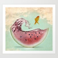 watermelon goldfish 02 Art Print