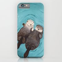 couple iPhone & iPod Cases featuring Otterly Romantic - Otters Holding Hands by When Guinea Pigs Fly